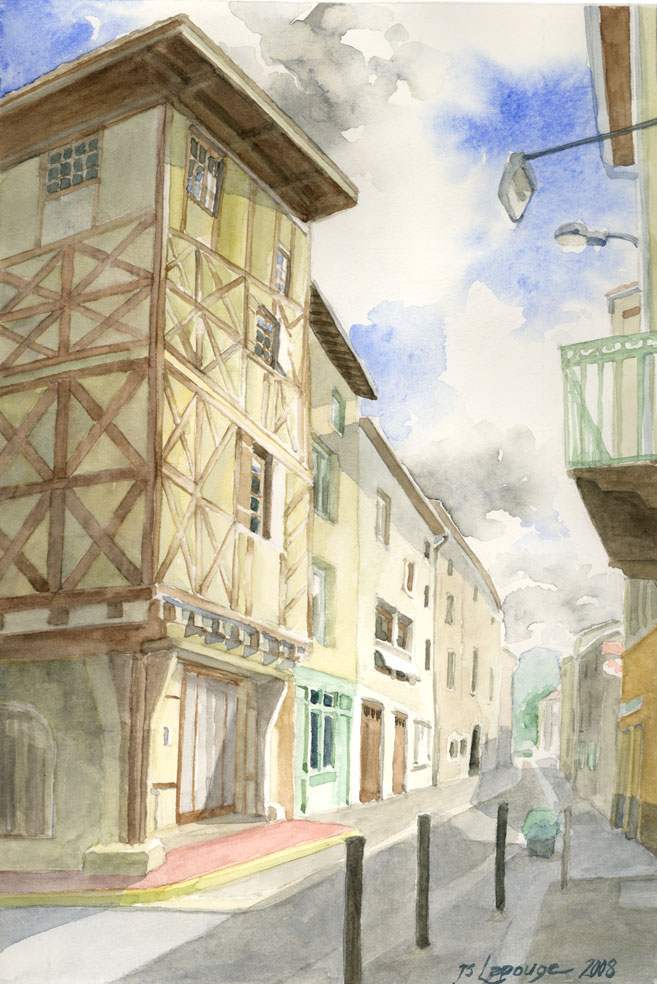 Courpière, maison à Colombages, aquarelle